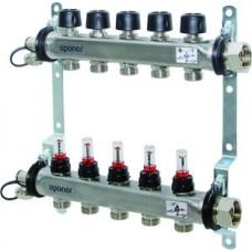 """UPONOR SMART S коллектор с клапанами стальной, выходы 10X3/4"""" евроконус 1И 1088053"""